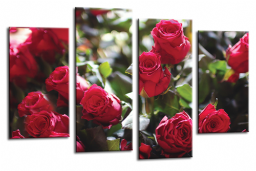 Floral Flower Red Rose Canvas Wall Art Picture Print